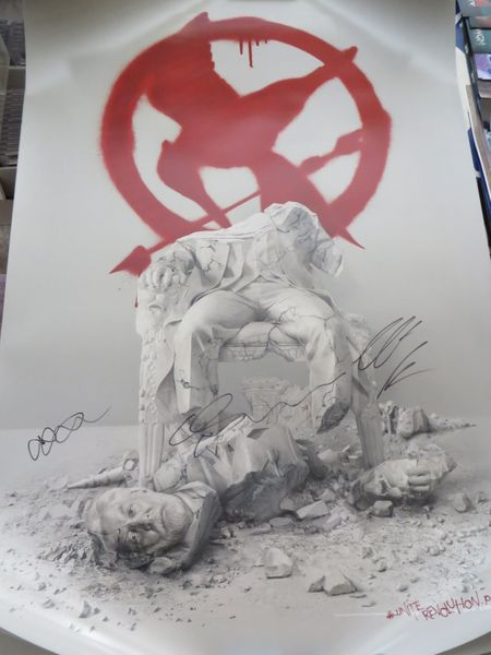 Hunger Games Mockingjay Part 2 movie poster autographed by Wes Chatham Gwendoline Christie Elden Henson