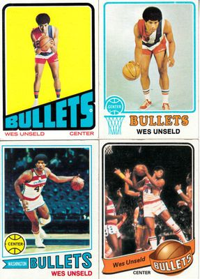 Wes Unseld lot of 4 vintage Topps basketball cards 1972-73 1973-74 1977-78 1979-80