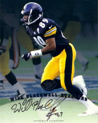 Will Blackwell certified autograph Pittsburgh Steelers 1997 Leaf 8x10 photo card