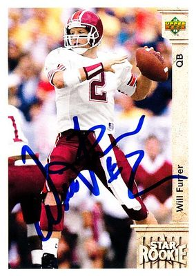 Will Furrer autographed Virginia Tech 1992 Upper Deck Rookie Card