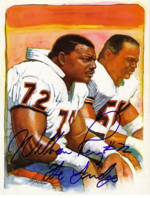 William (The Refrigerator) Perry autographed Chicago Bears 8 1/2 by 11 color artwork print inscribed The Fridge
