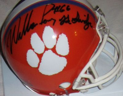William (The Refrigerator) Perry autographed Clemson Tigers mini helmet inscribed The Fridge (Schwartz)