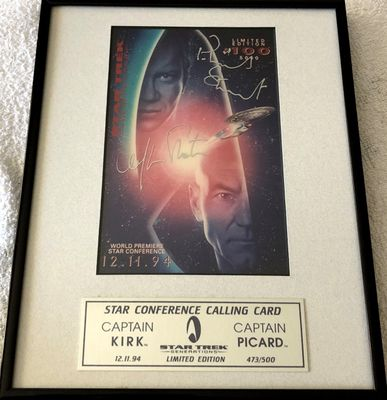 William Shatner and Patrick Stewart autographed Star Trek Generations movie card framed to 8x10 (#473/500)