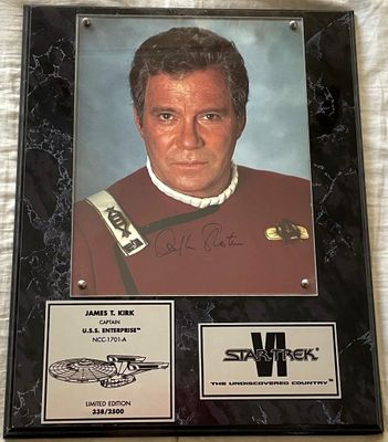 William Shatner autographed Star Trek 6 The Undiscovered Country 8x10 movie photo in plaque #338/2500