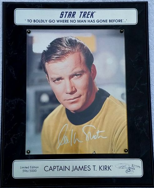 William Shatner autographed Star Trek 8x10 photo in plaque #596/5000
