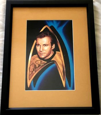 William Shatner autographed Star Trek Captain Kirk art print matted and framed