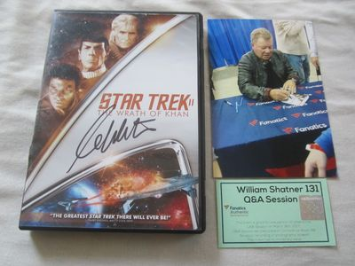William Shatner autographed Star Trek II The Wrath of Khan DVD cover insert