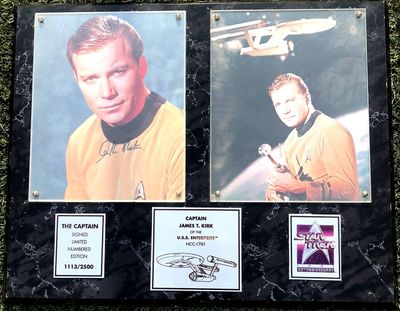 William Shatner autographed Star Trek The Captain 8x10 photo in 1991 plaque #1113/2500