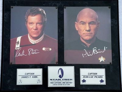 William Shatner and Patrick Stewart autographed Star Trek Generations 8x10 photos in plaque limited edition #913/1000