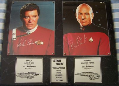 William Shatner and Patrick Stewart autographed Star Trek Generations 8x10 movie photos in plaque limited edition #/2500