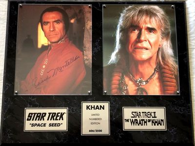 Ricardo Montalban autographed Star Trek Space Seed 8x10 photo in Wrath of Khan plaque (#606/2500)