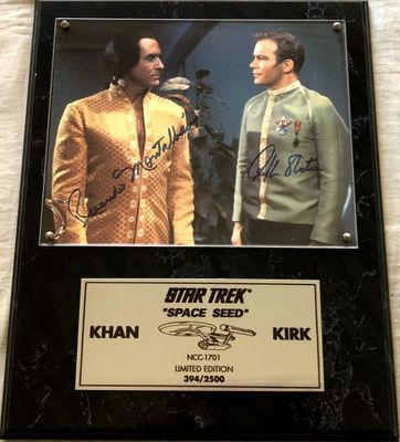 William Shatner and Ricardo Montalban autographed Star Trek Space Seed 8x10 photo in plaque (#394/2500)