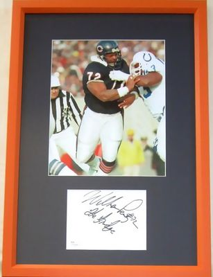 William (The Refrigerator) Perry autograph framed with Chicago Bears 8x10 photo inscribed The Fridge (JSA)
