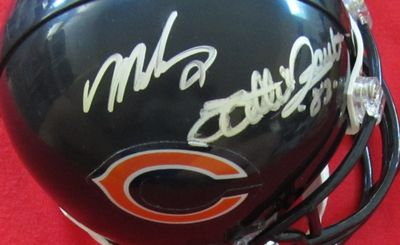 Willie Gault & Mike Singletary autographed Chicago Bears mini helmet