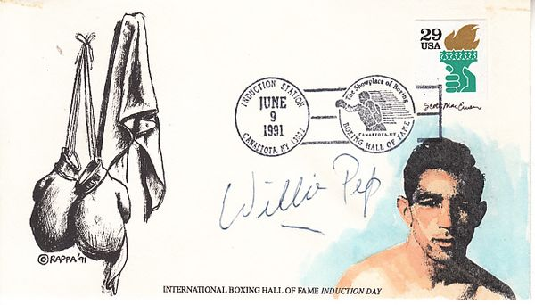 Willie Pep autographed International Boxing Hall of Fame 1991 Induction Day cachet envelope