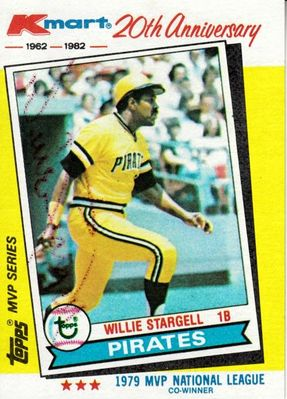 Willie Stargell autographed Pittsburgh Pirates 1982 Topps Kmart card with complete boxed set of 44 cards