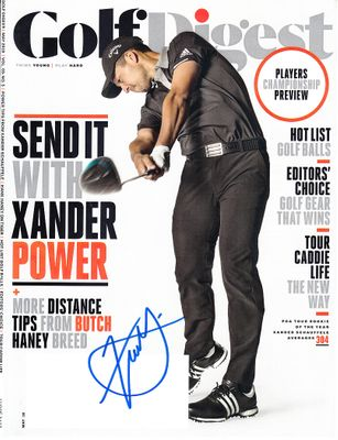 Xander Schauffele autographed 2018 Golf Digest magazine cover