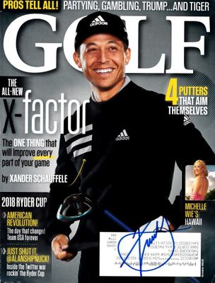 Xander Schauffele autographed October 2018 Golf Magazine cover