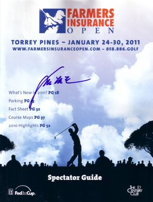 Y.E. Yang autographed 2011 Farmers Insurance Open golf program