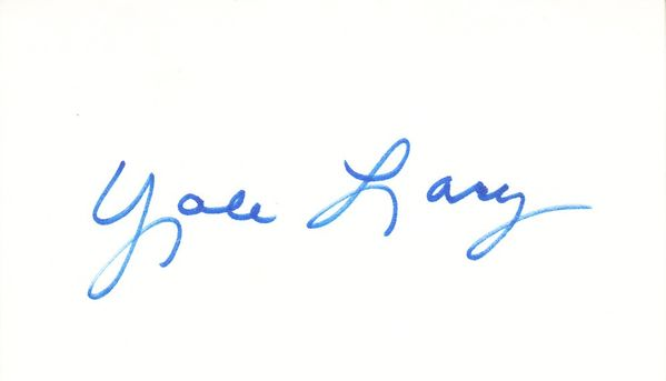 Yale Lary autographed 3x5 index card