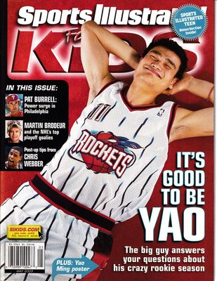 Yao Ming Houston Rockets 2003 Sports Illustrated for Kids magazine and 16x20 poster