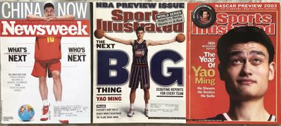 Yao Ming 2002 and 2003 Sports Illustrated and 2008 Newsweek magazines
