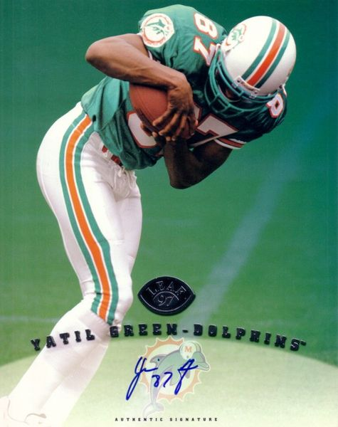 Yatil Green certified autograph Miami Dolphins 1997 Leaf 8x10 photo card