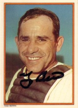 Yogi Berra autographed New York Yankees 1985 Topps Circle K card