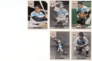 Yogi Berra autographed New York Yankees 1992 Front Row 5 card set