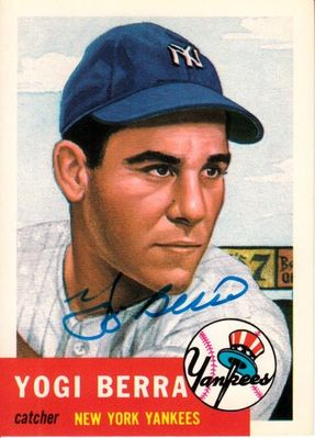 Yogi Berra autographed New York Yankees 1991 Topps Archives card