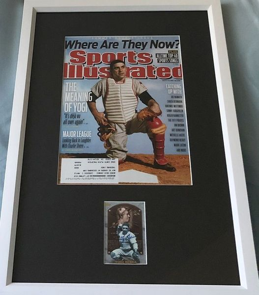 Yogi Berra autographed New York Yankees 1999 Topps Hall of Fame card framed with 2011 Sports Illustrated cover