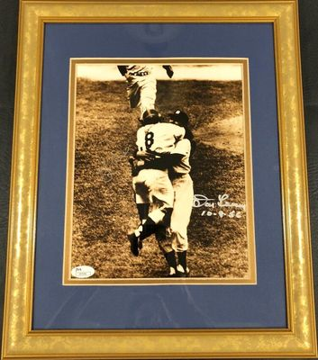 Don Larsen and Yogi Berra autographed New York Yankees 1956 World Series Perfect Game 8x10 photo framed (JSA)