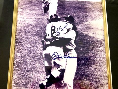 Don Larsen and Yogi Berra autographed New York Yankees 1956 World Series Perfect Game 8x10 photo framed