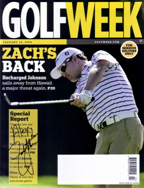 Zach Johnson autographed 2009 Golfweek magazine (to Alex)