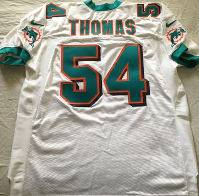 Zach Thomas Miami Dolphins authentic Nike game model white triple stitched jersey NEW