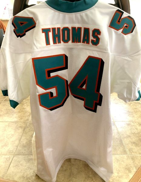 Zach Thomas Miami Dolphins 2001 to 2007 authentic Reebok game model white stitched jersey NEW