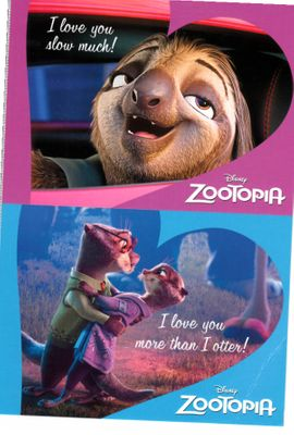 Zootopia movie set of 2 Disney promo postcards (one creased)