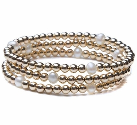 14k bead and pearl stack of three