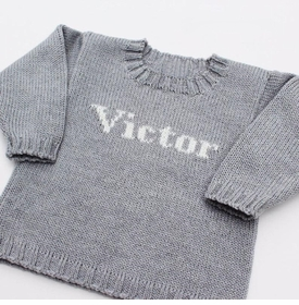 baby boy custom knit name sweater (pale grey and cream)