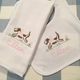 Baby Girl Puppy Name Burp Cloth or Bib Monogrammed Set