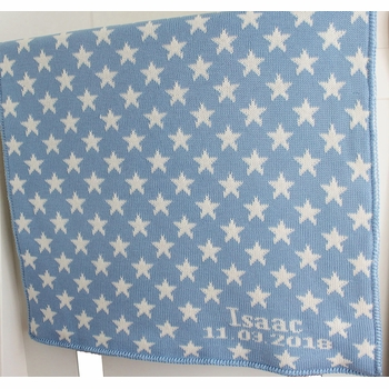 blue stars personalized baby blanket