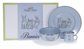 enamelware blue bunny baby dish sets<br>(CLICK to view section)