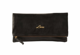 folder leather clutch with name embossing