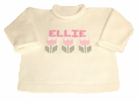 girls personalized flower sweater