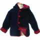 lined hooded cotton white sweater (navy with red tartan lining)