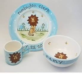 little lion cup bowl and plate dish set