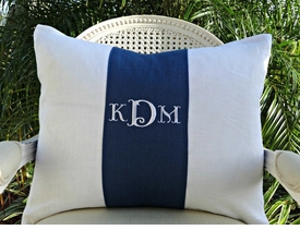monogram block personalized pillow