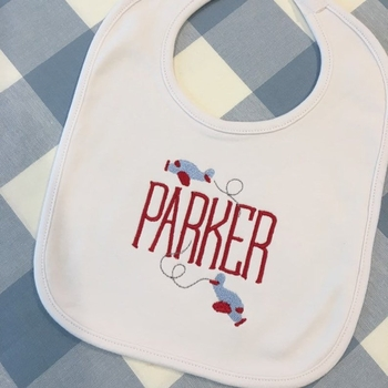 monogrammed airplane burp cloth or bib