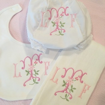 Monogrammed Bloomer, Burp Cloth and Bib Set with Floral Embroidery
