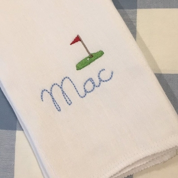 Monogrammed Golf Burp Cloth or Bib Embroidered Baby